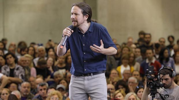 El líder de Podemos. Pablo Iglesias, durante un mitin en Valencia, la semana pasada