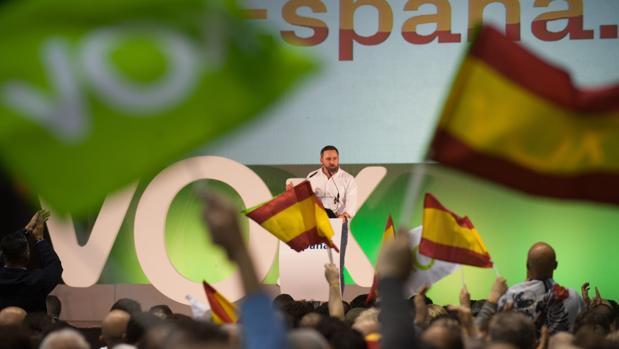 Santiago Abascal, en un acto de Vox en Murcia