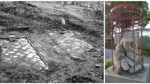 Tumbas excavadas en 1972 junto al puente de la Cava y cipos conservados en la Universidad Laboral