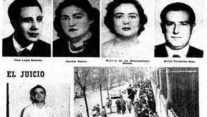Las víctimas (arriba), el asesino en serie y el juicio, debajo