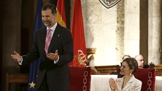 Los Reyes durante la entrega del Premio Príncipe de Viana de la Cultura 2015