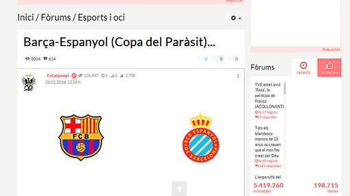Imagen de un foro que denomina la Copa del Rey como «Copa del Parásito»