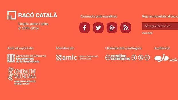 Imagen de la web de Racó Català con el logotipo del Gobierno valenciano
