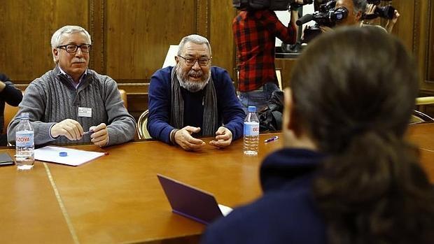 Fernández toxo y Cándido Méndez, con Pablo Iglesias