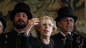 La alcaldesa de Madrid, Manuel Carmena, durante el pregón de la Alegre Cofradía del Entierro de la Sardina