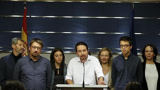 Imagen de Domènech, Iglesias y Errejón, en primer término, tomada el pasado 22 de enero