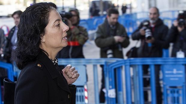 La abogada del Estado Dolores Ripoll, a su salida esta tarde de la Escuela Balear de la Administración Pública (EBAP),