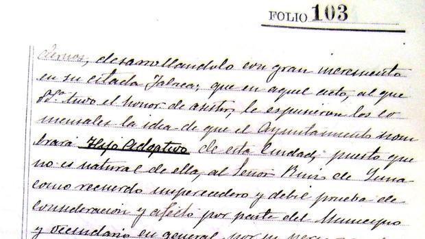 En el folio 103 de este libro de actas se recoge el nombramiento de Ruiz de Luna como hijo adoptivo el 20 de julio de 1920