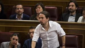 Pablo Iglesias durante la sesión de investidura
