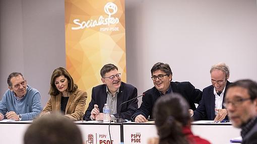 Imagen de Puig en la reunión de la permanente del PSPV celebrada este sábado