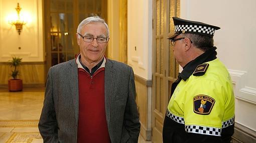 Imagen de Ribó tomada este viernes en el Ayuntamiento de Valencia