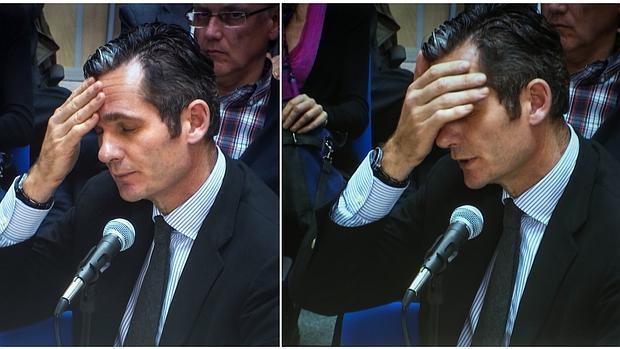 Iñaki Urdangarín , en dos momentos de su declaración ante el tribunal