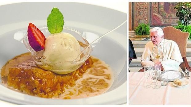 A la izquierda, torrija caramelizada de Roberto Hierro. A la derecha, el Papa Benedicto XVI