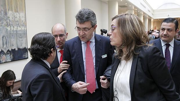 Martínez Majo (centro), durante su visita al Senado