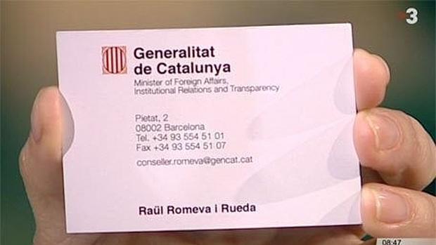 Romeva Se Presenta En Su Tarjeta De Visita Como Ministro De