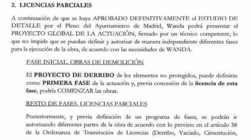 Extracto de la carta enviada por Manuela Carmena a Wanda