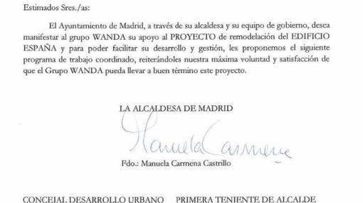 Encabezado del escrito firmado por la alcaldesa de Madrid, Manuela Carmena