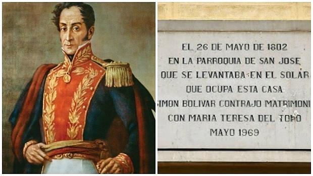 Retrato de Simón Bolívar y placa conmemorativa de la boda del militar en Madrid