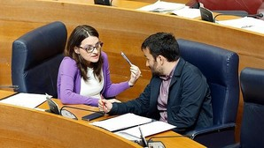 Vicent Marzà y Mónica Oltra, en las Cortes Valencianas