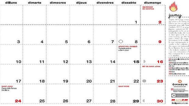 Imagen del calendario editado por la Generalitat de Cataluña con el festivo del 24 de junio