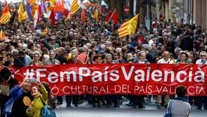 Cabecera de la manifestación catalanista, liderada por Acció Cultural