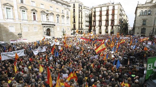 Manifestación de SCC conta el proceso en plaza Sant Jaume de Barcelona, el pasado enero