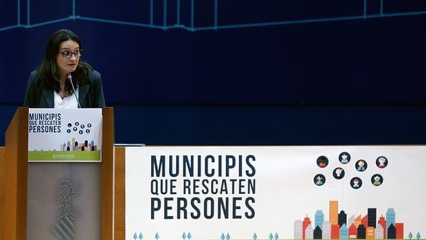 Imagen de Mónica Oltra en un acto alcaldes celebrado este sábado en Valencia