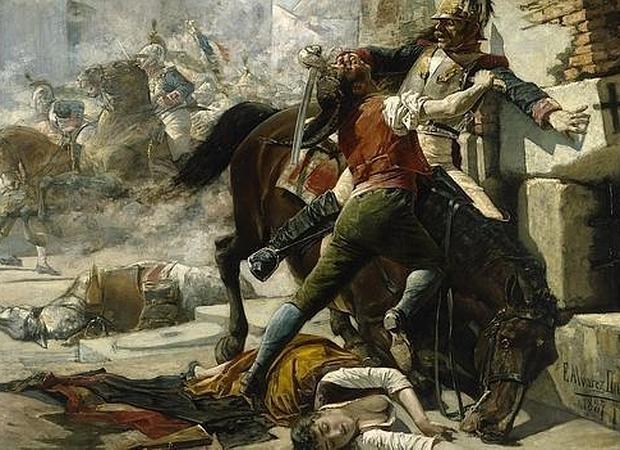 Malasaña y su hija batiéndose contra los franceses, por Eugenio Álvarez Dumont
