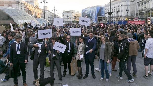 La manifestación en Sol por el quinto aniversario del 15