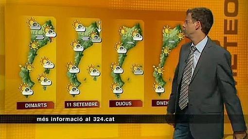 Imagen de un informativo de TV3 con el mapa de los Países Catalanes