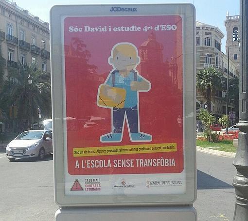 Imagen de uno de los carteles de la campaña tomada en el centro de Valencia
