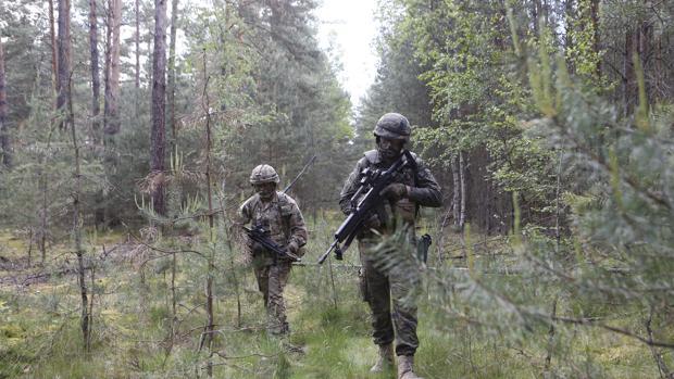 Un militar español (en primer plano) y otro británico en en una maniobra en los bosques de Zagan