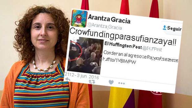 Arantza Gracia (Zaragoza en Común) y el «tuit» que colgó
