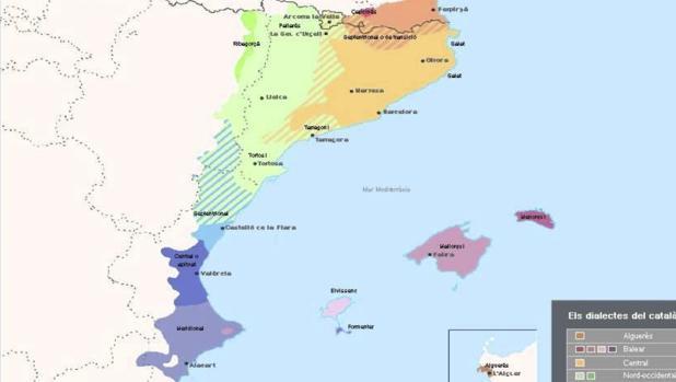 Mapa de los «Países Catalanes» considerado por la Generalitat como referencia «didáctica»
