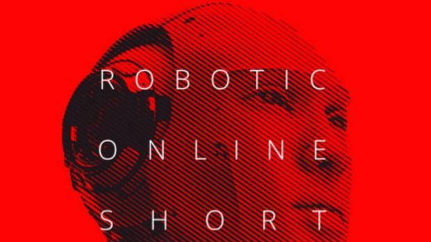 Cartel del festival de cortos robótico.