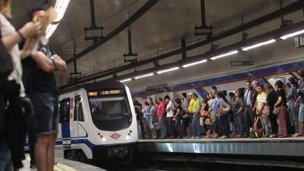 Imagen del andén de Metro Madrid en un día de huelga de este mes