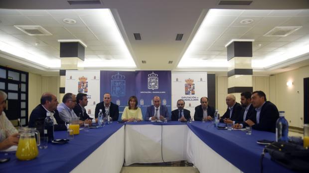 El presidente de la Diputación de Guadalajara, en el centro, con el resto de diputados, durante el balance realizado este miércoles