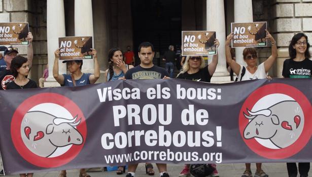 Imagen de una concentración de detractores de los festejos taurinos tomada este jueves ante el Ayuntamiento