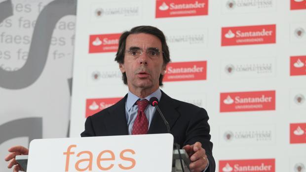 El expresidente del Gobierno José María Aznar el pasado lunes en San Lorenzo de El Escorial