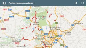 Los 44 puntos negros de las carreteras de la Comunidad de Madrid