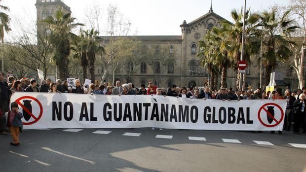Manifestación en Barcelona contra la guerra de Irak