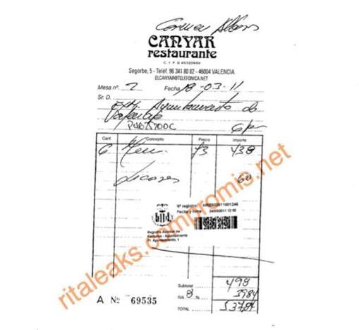 Imagen de la factura de 537 euros en el restaurante El Canyar a nombre de Carmen Alborch