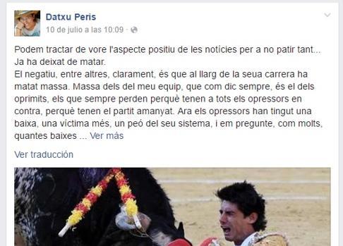 Captura del Facebook de la edil de Guanyar Catarroja
