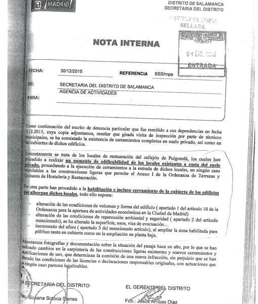 El informe de los técnicos que fue remitido a la Agencia de Actividades