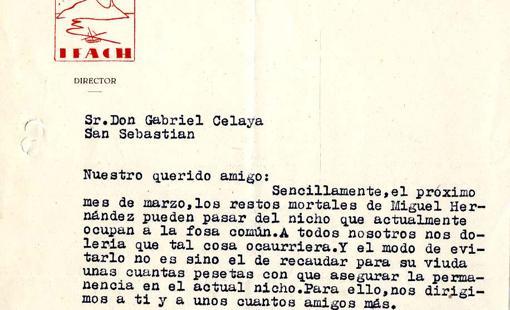 Carta de los alicantinos Ramos y Molina a Celaya, cedida por la Fundación