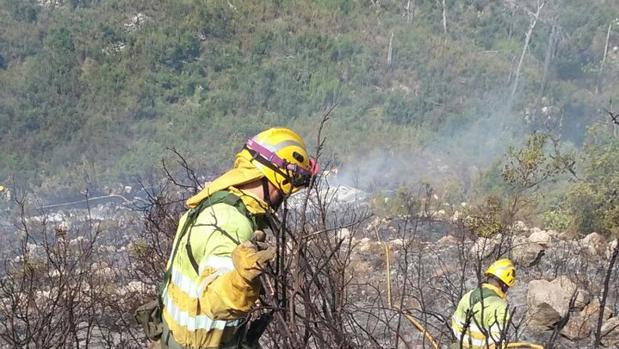 Los bomberos forestales combaten el incendio de Adsubia