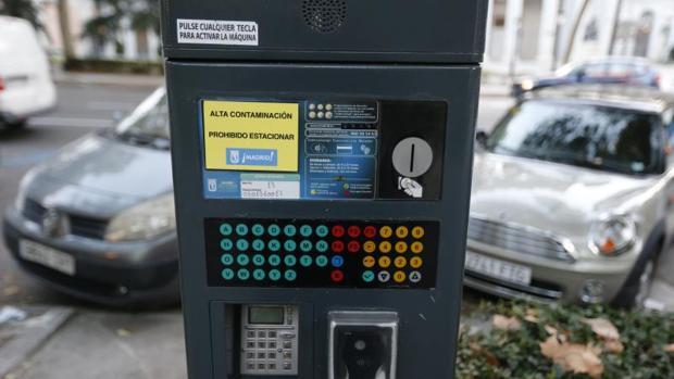 Parquímetro de Madrid inactivo por alta contaminación