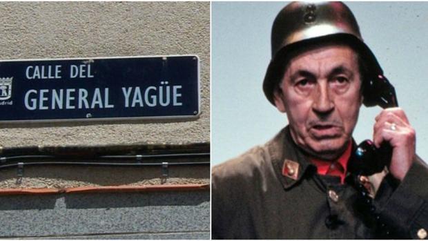 Cartel de la calle del General Yagüe, en el barrio de Tetuán, y una fotografía del humorista Miguel Gila