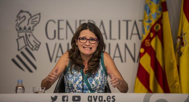 Imagen de Mónica Oltra tomada este viernes tras el pleno del Consell