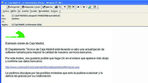 Caja Madrid fue víctima de un caso de phishing en 2006